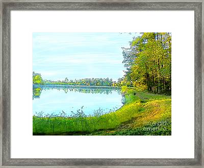 Lake And Woods Framed Print