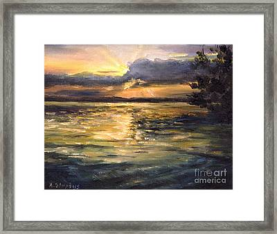 Framed Print featuring the painting Lake by Arturas Slapsys