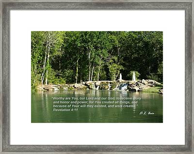 Lake At Cinco Ranch With Scripture Framed Print by Dennis Stein
