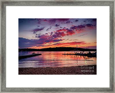 Framed Print featuring the photograph Lake Beach Sunset by Mark Miller