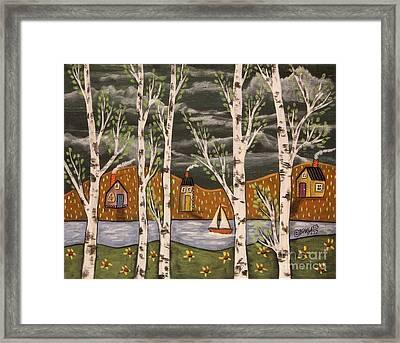 Lake Birches Framed Print