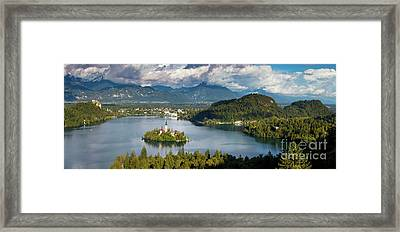 Framed Print featuring the photograph Lake Bled Pano by Brian Jannsen