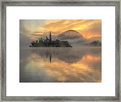Lake Bled Sunrise Slovenia Framed Print