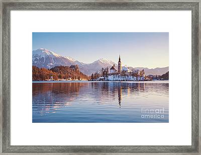 Lake Bled Winter Sunrise Framed Print
