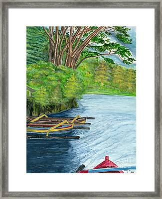 Framed Print featuring the painting Lake Bratan Boats Bali Indonesia by Melly Terpening