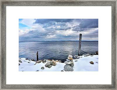 Lake Champlain During Winter Framed Print by Brendan Reals