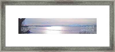 Lake Champlain South From Atop Battery Park Wall Panorama Framed Print by Felipe Adan Lerma