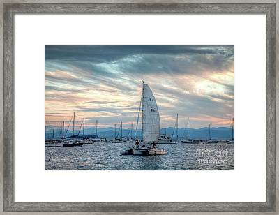 Lake Champlain Sunset Sail Framed Print by Susan Cole Kelly