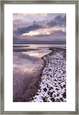 Lake Champlain-winter-sunset-stormy Clouds Framed Print by Andy Gimino