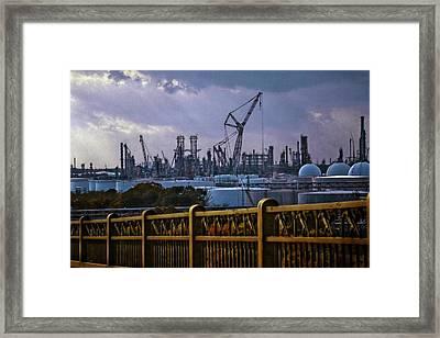 Lake Charles Calcasieu Bridge Framed Print by Linda Unger