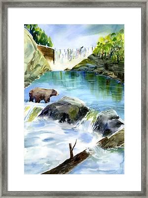 Lake Clementine Falls Bear Framed Print