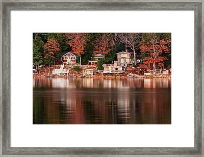 Lake Cottages Reflections Framed Print