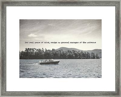 Lake Cruise Quote Framed Print by JAMART Photography