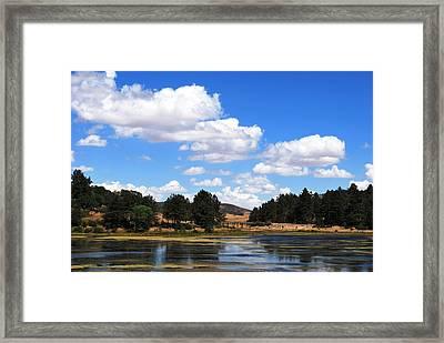 Lake Cuyamac Landscape And Clouds Framed Print