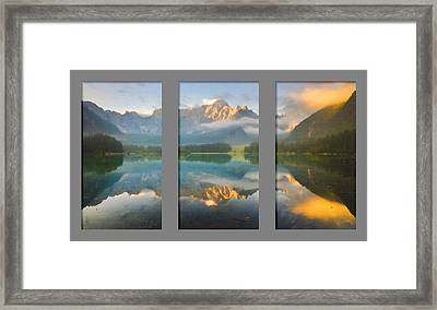 Lake Fusine In Triptych Framed Print by Mario Carini