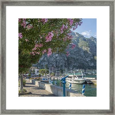 Lake Garda Harbour And Riverside In Limone Sul Garda Framed Print by Melanie Viola