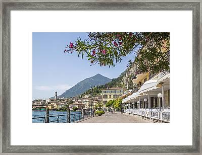 Lake Garda Limone Sul Garda Lakeside Framed Print by Melanie Viola