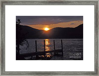 Lake George New York Sunset Framed Print by Cindy Lee Longhini