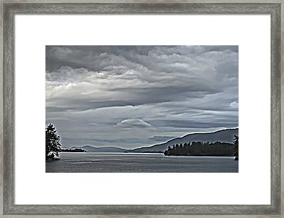 Lake George Rain And Clouds Framed Print
