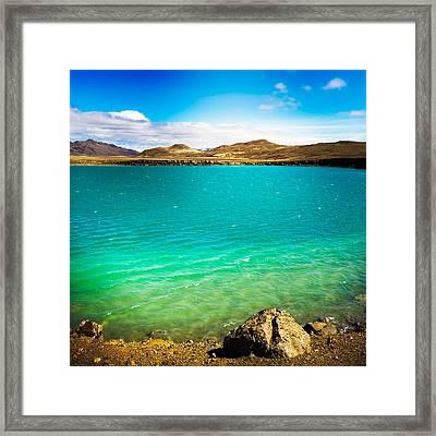 Lake Graenavatn In Iceland Green And Blue Colors Framed Print