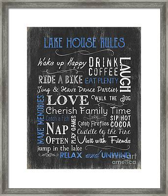 Lake House Rules Framed Print by Debbie DeWitt