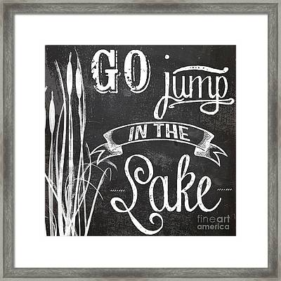 Lake House Rustic Sign Framed Print by Mindy Sommers