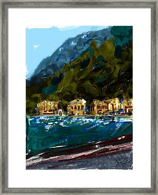 Lake Houses Framed Print by Russell Pierce