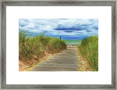 Lake Huron Boardwalk Framed Print by Bill Gallagher