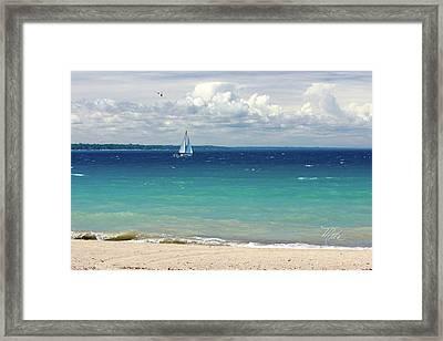 Lake Huron Sailboat Framed Print