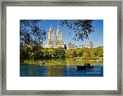 Lake In Central Park Framed Print by Allan Einhorn