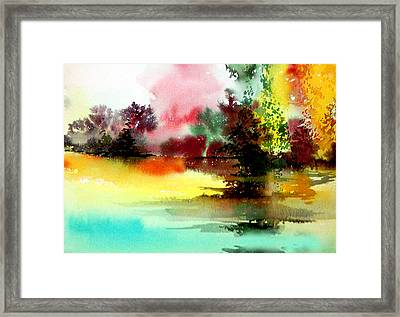 Lake In Colours Framed Print by Anil Nene