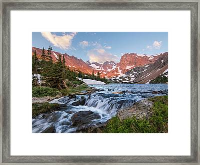 Framed Print featuring the photograph Lake Isabelle Sunrise by Aaron Spong