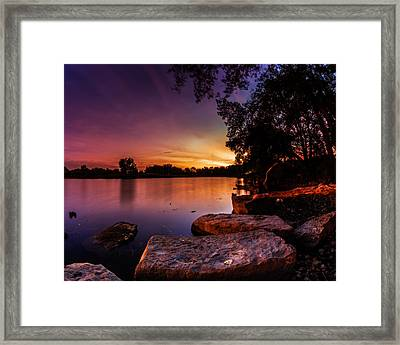 Framed Print featuring the photograph Lake Kirsty Twilight by Chris Bordeleau
