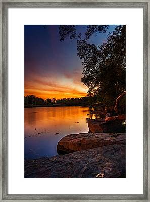 Framed Print featuring the photograph Lake Kirsty Twilight - Vertical by Chris Bordeleau