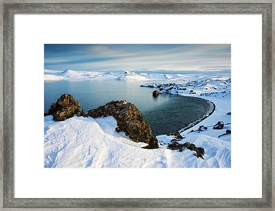 Framed Print featuring the photograph Lake Kleifarvatn Iceland In Winter by Matthias Hauser