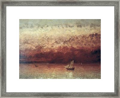 Lake Leman With Setting Sun Framed Print by Gustave Courbet