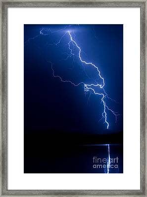 Lake Lightning Strike Framed Print