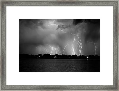 Lake Lightning Two Bw Framed Print by James BO  Insogna