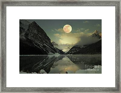 Lake Louise Moon Glow Framed Print by Andrea Hazel Ihlefeld