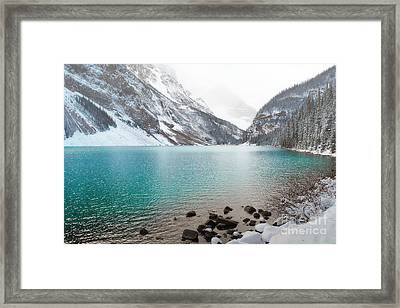 Lake Louise Mountain Snow Forest Landscape Framed Print by Andrea Hazel Ihlefeld