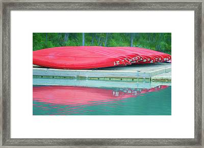Lake Louise Red Canoes Painterly Framed Print