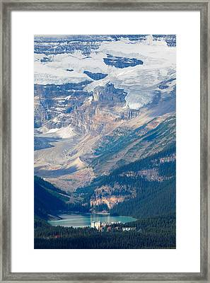 Lake Louise With The Victoria Glacier Framed Print by George Oze