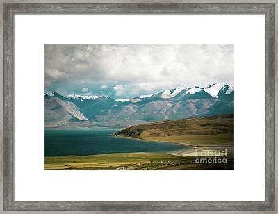 Lake Manasarovar Kailas Yantra.lv Tibet Framed Print by Raimond Klavins