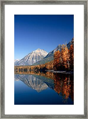 Lake Mcdonald Autumn Framed Print by Lawrence Boothby