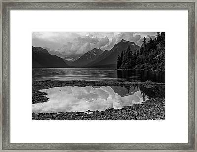 Lake Mcdonald Sunset In Black And White Framed Print