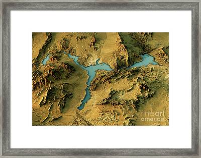 Lake Mead 3d Landscape View North-south Natural Color Framed Print by Frank Ramspott