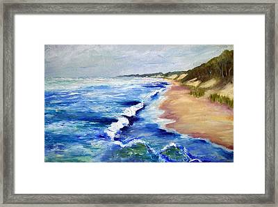 Lake Michigan Beach With Whitecaps Framed Print by Michelle Calkins