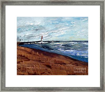 Framed Print featuring the painting Lake Michigan Beauty by Ayasha Loya