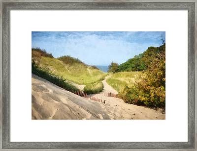Framed Print featuring the photograph lake Michigan Coastal Dune Path by Michelle Calkins