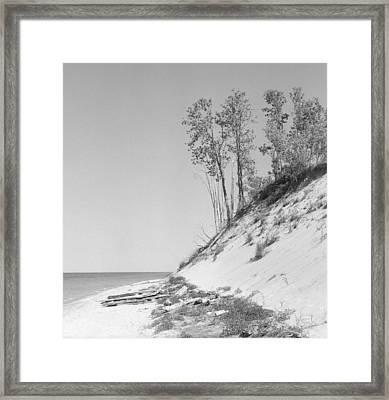 Lake Michigan Dunes Framed Print by Richard Singleton